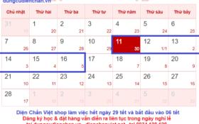 Lịch nghỉ tết nguyên đán Tân sửu 2021 của Diện Chẩn Việt